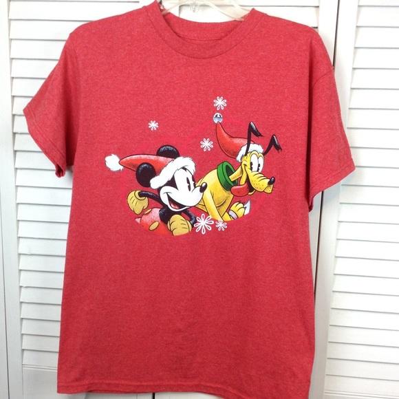 Christmas Tops.Disney Tee Shirt M Red Mickey Pluto Christmas
